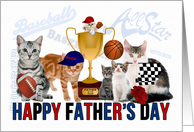 Funny Sports Themed Cat Lovers for Father's Day card