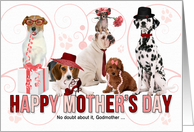 For Godmother on Mother's Day Dog Lover Pink and Red card