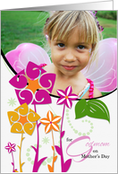 for Godmom on Mother's Day Fun Floral with Photo card