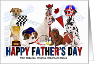 for Dad on Father's Day from the Kids Custom Dogs Sports Theme card