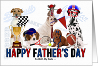for Both My Dads on Father's Day Dog Sports Theme card