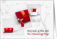 Housewarming Party Invitations Home in Red and White card