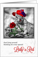 Thinking of You Funny Squirrel in a Hat with Red Rose card
