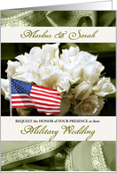 Military Wedding Invitation - White Roses in Sage Green card