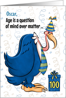 100th Funny Birthday Blue Buzzard in a Tie Custom Name card
