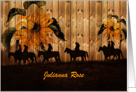 Custom NAME Sunflowers and Cowgirl Western Blank Any Occasion card