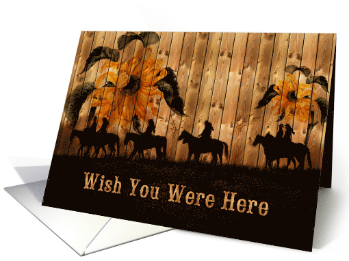 Missing You Country Western Horse and Riders Blank card (1097852)