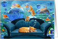 Thank You Tabby Dreams Underwater Adventure for Cat Lover card