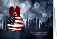 American Flag Ornament and Skyline Business Holiday card