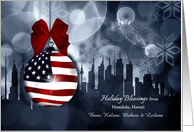 from Hawaii American Flag Patriotic Holiday Blessings card