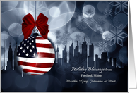 from Maine American Flag Patriotic Holiday Blessings card