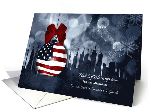 from Mississippi American Flag Patriotic Holiday Blessings card