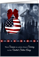 Army Military Christmas American Flag with Soldier and Skyline card