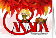 Thanksgiving Canada Cornucopia and Maple Leaves card