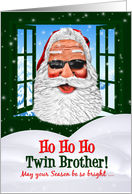for Twin Brother Christmas Cool Santa in Sunglasses card