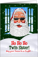 for Twin Sister Christmas Cool Santa in Sunglasses card