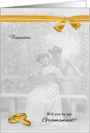 Be My Groomsmaid Vintage Lesbian Wedding Custom card
