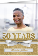 Custom 50th Birthday Party Photo Invitation in Silver card
