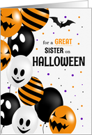for Sister Halloween Black Cat and Pumpkins card