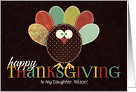 for Daughter Custom Thanksgiving Patchwork Turkey card