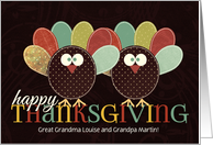 for Great Grandparents Custom Thanksgiving Silly Patchwork Turkey card