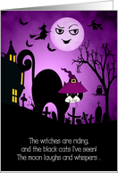 Halloween Laughing Moon and Black Cat card