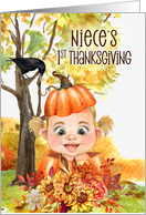 for Niece's 1st Thanksgiving Pumpkin and Teddy Bear card