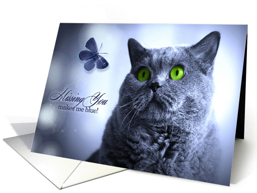 Missing You Russian Blue Cat with Butterfly card (1175598)