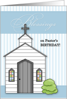 for Pastor on his Birthday Chapel with Blue Stripes card