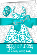 24th Birthday for Her Trendy Bling Turquoise Dress card