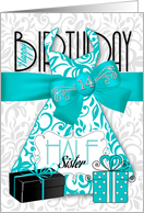 14th Birthday for Half Sister Trendy Bling Turquoise Dress card