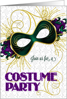 Costume Party Masquerade Theme Violet Gold and Green Mask card