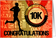 10K Run Congratulations Sports Theme in Orange and Gold card