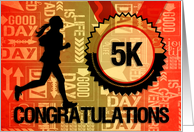 5K Run Congratulations Sports Theme in Orange and Gold card