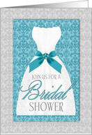 Bridal Shower Invitation Turquoise and Silver Wedding Gown card