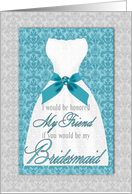 Friend Bridesmaid Request Turquoise and Silver Wedding Custom card
