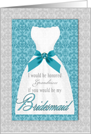 Bridesmaid Request Turquoise and Silver Custom Name or Relation card