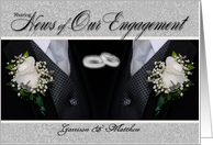 Gay Couple Engagement Tuxes and White Roses Custom card