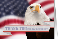 Thank You for Your Support American Eagle USA Flag Blank Inside card