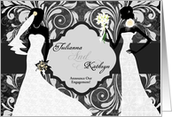 Two Brides Announcing Our Engagement Elegant Damask card