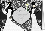 Engagement Party Invitation for Two Brides in Elegant Damask card