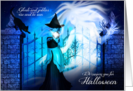 Witch Conjures Ghosts for a Halloween Party card