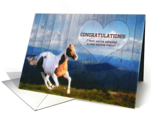New Pet Shelter Adoption Horse Barn Wood Congratulations card
