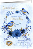 for Godmother on Mother's Day Blue Bird Blue Floral Garden Theme card