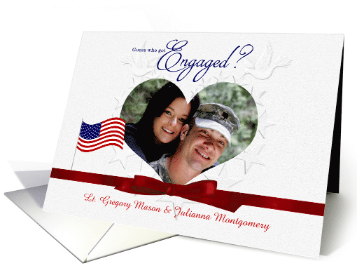 Were Engaged Military Theme Embossed Look Heart Photo Frame Card
