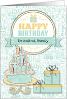 Birthday Custom Relation Mint Green and Yellow card