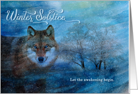 Winter Solstice Blue Wolf in the Snow card