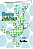 for Godson on Easter Green Gingham Checked Bunny Custom Name card
