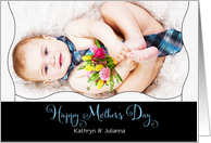 for Two Moms Mother's Day Baby Boy in a Necktie Custom Text card