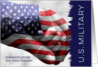 Military Boot Camp Graduate Hand in Hand with Flag card